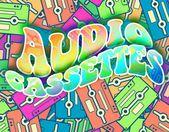 Retro audio cassettes concept Vintage poster design — Stock Photo
