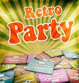 Retro party vintage poster design on old cassettes — Stock Photo