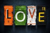 Love word on vintage broken car license plates — Stok fotoğraf