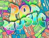 Pop music retro concept Vintage poster design — Stock Photo
