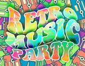 Retro music party concept Vintage poster design — Stock Photo