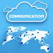 Communication over network world map — Stock Photo
