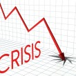 Crisis chart, profit loss and down arrow — Stock Photo