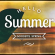 Hello summer goodbye spring, vintage poster — Stock Photo