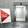 Time for change. Modern elevator with open door — Foto de Stock