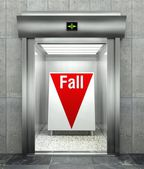Business fall. Modern elevator with red down arrow — 图库照片