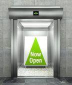 Now open. Modern elevator with open door — Stock Photo