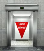 Business crisis ahead. Modern elevator with red down arrow — Stock Photo