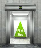 Business first step. Modern elevator with open door — Stock Photo
