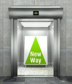 New way. Modern elevator with open door — 图库照片