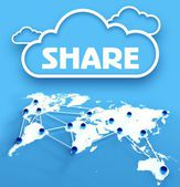 Share computing cloud over communication world map — Stock Photo