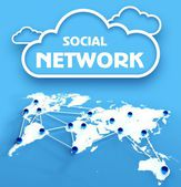 Social network over communication world map — Stock Photo