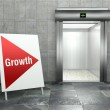 Business growth. Modern elevator with open door — Stock Photo #42004163