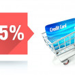 Minus 25 percent sale, credit card and shopping cart — Stock Photo