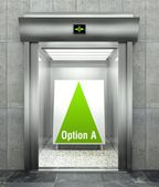 Business option A. Modern elevator with open door — Stock Photo