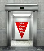 Business questions. Modern elevator with red down arrow — Stock Photo