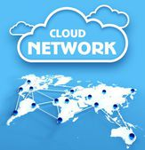 Cloud network over communication world map — Stock Photo