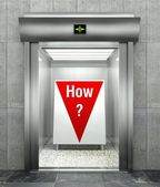 How business question. Elevator with red down arrow — Stock Photo