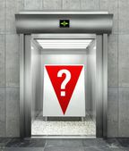 Question mark. Modern elevator with red down arrow — 图库照片