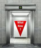 What now business question, Elevator with red arrow — 图库照片