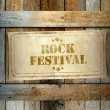 Stamp Rock Festival label old wooden box — Stock Photo #42565849