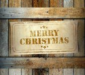Stamp Merry Christmas label old wooden box — Stock Photo