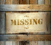 Stamp Missing old wooden box — Stock Photo
