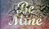Be Mine message stone rose background — Stock Photo