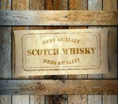 Stamp Best Quality Scotch Whisky label old wooden box — Stock Photo