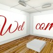 Welcome on frame wall gallery interior — Stock Photo #42582139
