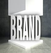 Brand word empty exhibition showcase — Foto Stock