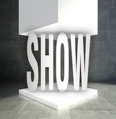 Show word empty exhibition showcase — 图库照片