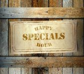 Stamp Special Happy Hour old wooden box — Stock Photo