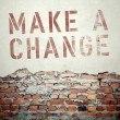Make a change concept on old brick wall — Stock Photo #45364075