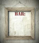 Pasek menu w stare drewniane ramki na ścianie — Zdjęcie stockowe