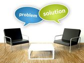 Problem and solution concept, office interior with armchairs — Stock Photo