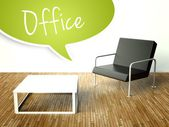 3d Office interior with table and armchair — Stockfoto