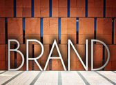 Brand on modern building, creative conceptual illustration — Stock Photo