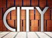 Staden på moderna byggnad, kreativa konceptuell illustration — Stockfoto