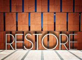 Restore on modern building creative illustration — Stock Photo