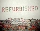 Refurbished concept on old brick wall — Stockfoto