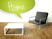 3d-interieur met een tafel en een fauteuil — Stockfoto