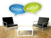 Teamwork concept, office interior with armchairs — Stock Photo