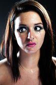 Hurt woman crying, smeared makeup — Stock Photo