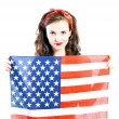 Pin up girl posing with american flag — Stock Photo #46689981