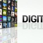 Digital TV technology video wall LCD panels — Stock Photo