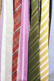 Colored men necktie in shop closeup — Stock Photo