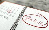 Birthday important day, calendar concept — Stock Photo