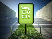 Eco city, advertising panel on street — Stock Photo
