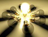 Idea light bulb concept, copyspace — Stock Photo